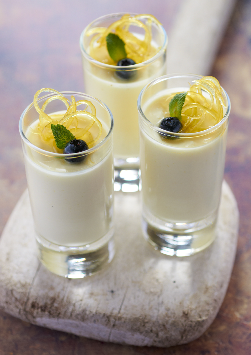 Lemon Posset with Lemon Curd and Shortbread