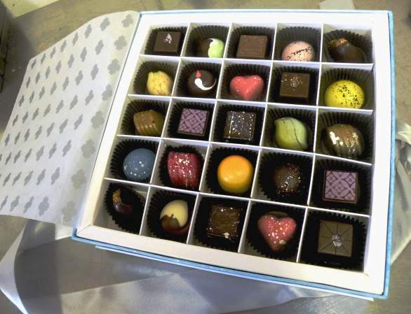 Variety of chocolates in iPad like box