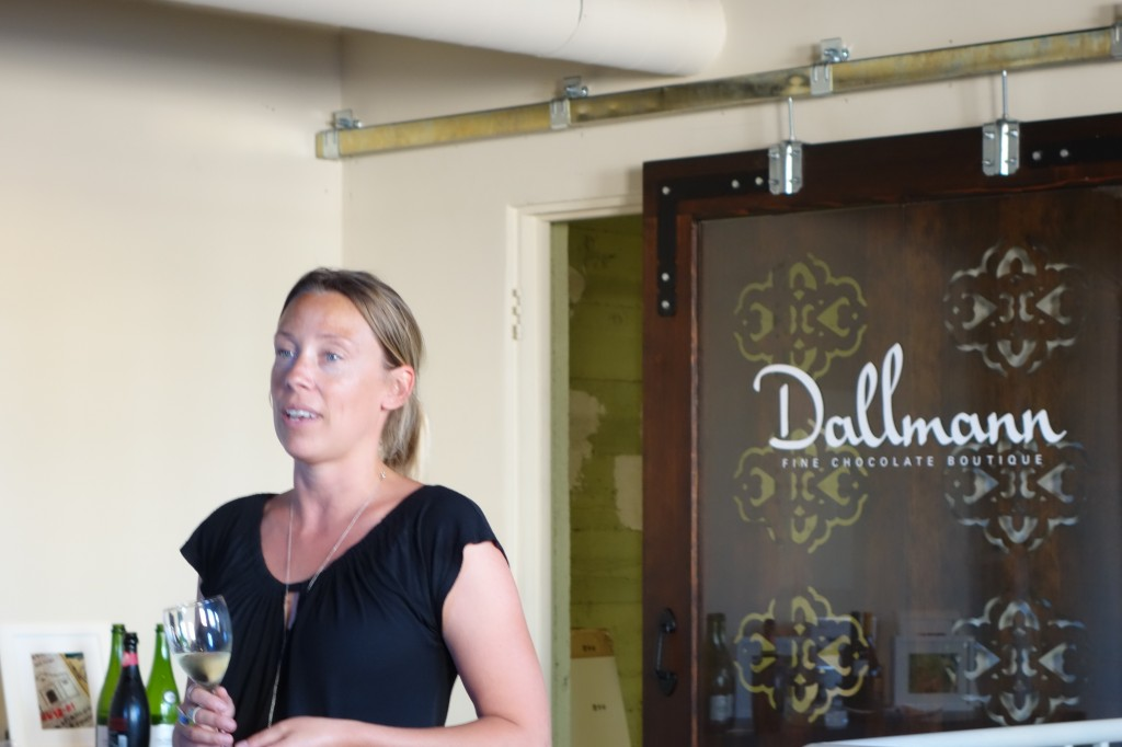Isabella Knack explains  wines and chocolates paired together