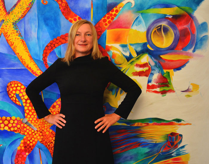 """Elke Daemmrich in front of her painting """"Dead in Marseillveyre """", oil on canvas, in November 2014, before it was finished. See finished painting below."""