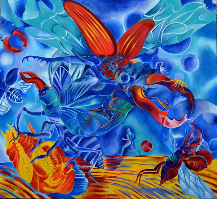 Elke Daemmrich, The Jogger, oil on canvas, 47″ x 43″.